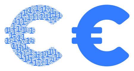 Euro mosaic icon of zero and one symbols in different sizes. Vector digit symbols are randomized into Euro mosaic design concept.