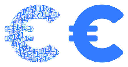 Euro mosaic icon of zero and one symbols in different sizes. Vector digit symbols are randomized into Euro mosaic design concept.
