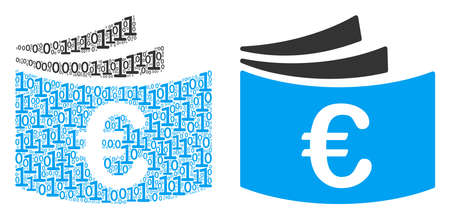 Euro checkbook collage icon of zero and null digits in variable sizes. Vector digits are arranged into Euro checkbook mosaic design concept. Illustration