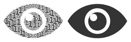 Eye composition icon of binary digits in different sizes. Vector digits are combined into eye mosaic design concept.