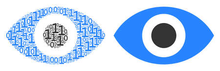 Eye composition icon of zero and null digits in different sizes. Vector digit symbols are composed into eye mosaic design concept.