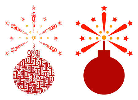 Fireworks detonator composition icon of zero and null digits in variable sizes. Vector digits are grouped into fireworks detonator illustration design concept. Illustration