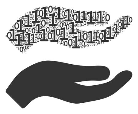 Hand collage icon of binary digits in randomized sizes. Vector digit symbols are scattered into hand composition design concept.