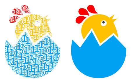 Hatch chick composition icon of zero and one symbols in various sizes. Vector digital symbols are united into hatch chick illustration design concept.