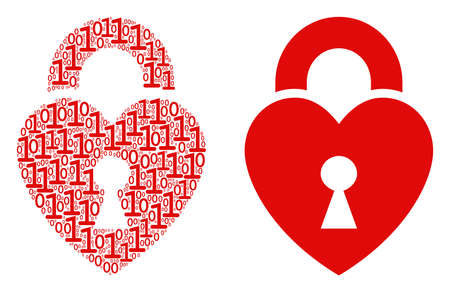 Heart lock composition icon of one and zero digits in random sizes. Vector digits are formed into heart lock illustration design concept.