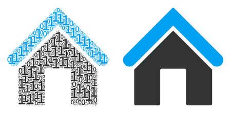 Icône de collage à la maison d'un et zéro chiffres de tailles aléatoires. Les symboles de chiffres de vecteur sont dispersés dans le concept de conception d'illustration de la maison.