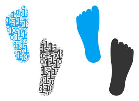 Human footprints collage icon of zero and null digits in different sizes. Vector digital symbols are formed into human footprints composition design concept.