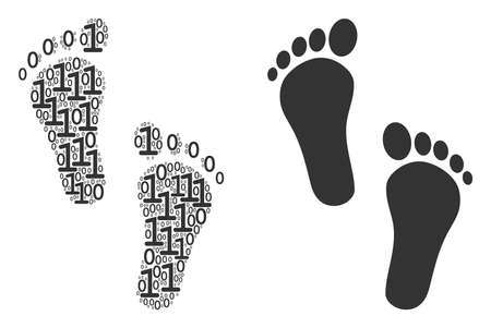 Human steps mosaic icon of zero and null digits in various sizes. Vector digits are composed into human steps collage design concept.