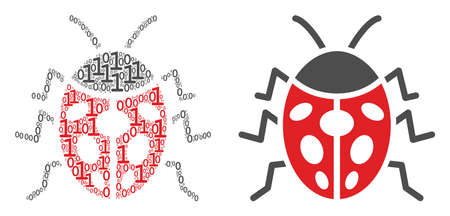 Ladybird bug composition icon of zero and one symbols in randomized sizes. Vector digit symbols are composed into ladybird bug composition design concept. Иллюстрация
