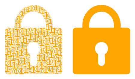 Lock collage icon of zero and one symbols in different sizes. Vector digit symbols are grouped into lock composition design concept.