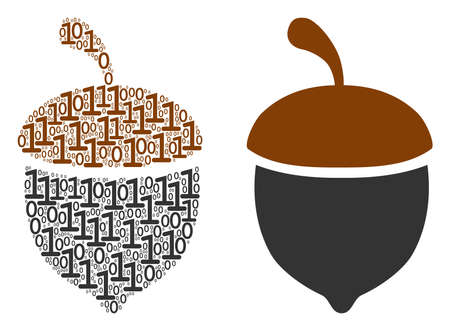 Oak acorn mosaic icon of zero and null digits in variable sizes. Vector digit symbols are combined into oak acorn collage design concept.