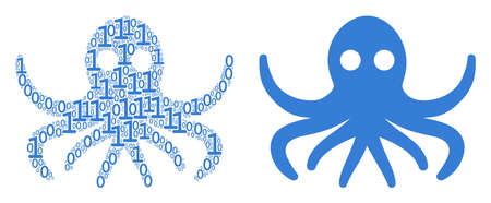 Octopus composition icon of one and zero digits in random sizes. Vector digits are arranged into octopus composition design concept. Illustration