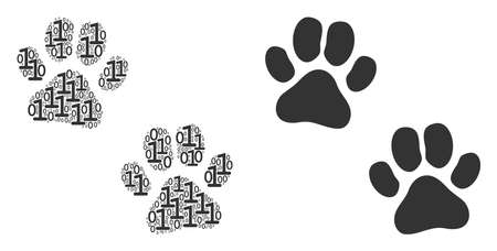 Paw footprints composition icon of one and zero digits in randomized sizes. Vector digital symbols are arranged into paw footprints mosaic design concept. Çizim