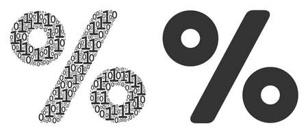 Percent mosaic icon of zero and null digits in random sizes. Vector digits are composed into percent collage design concept.