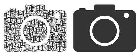 Photo camera composition icon of one and zero digits in random sizes. Vector digital symbols are composed into photo camera illustration design concept. 일러스트
