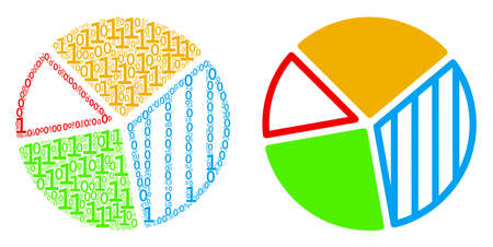 Pie chart collage icon of zero and null digits in variable sizes. Vector digit symbols are united into pie chart collage design concept.