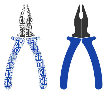 Pliers collage icon of zero and one symbols in random sizes. Vector digits are composed into pliers composition design concept.