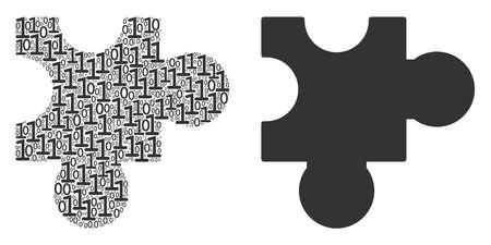 Plugin collage icon of binary digits in randomized sizes. Vector digital symbols are randomized into plugin illustration design concept.