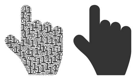 Pointer finger composition icon of binary digits in various sizes. Vector digits are formed into pointer finger collage design concept.