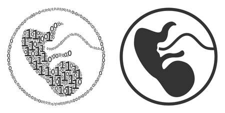 Prenatal mosaic icon of one and zero digits in random sizes. Vector digit symbols are combined into prenatal collage design concept. Vettoriali