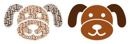 Puppy composition icon of zero and one symbols in randomized sizes. Vector digital symbols are organized into puppy illustration design concept.