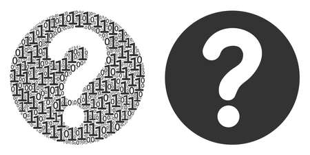 Query collage icon of zero and one symbols in variable sizes. Vector digits are arranged into query mosaic design concept.