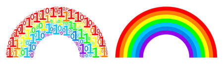 Rainbow collage icon of zero and one symbols in various sizes. Vector digital symbols are combined into rainbow collage design concept. Çizim