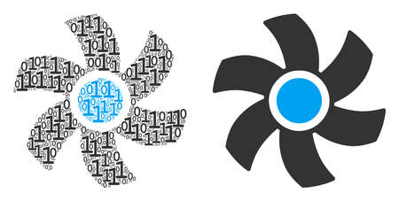 Rotor composition icon of zero and one symbols in random sizes. Vector digits are formed into rotor collage design concept.