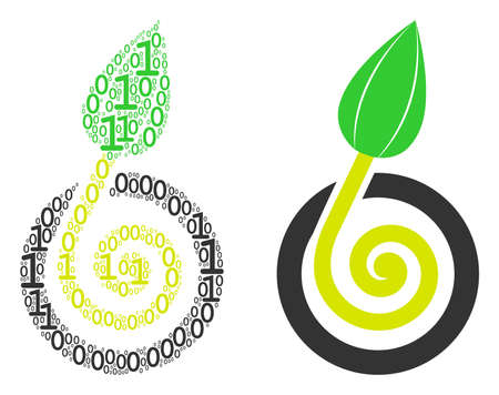 Seed sprout collage icon of zero and null digits in randomized sizes. Vector digits are organized into seed sprout collage design concept. Фото со стока - 103212800