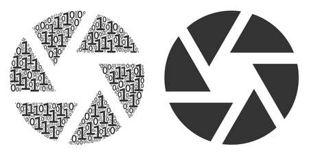 Shutter composition icon of zero and null digits in random sizes. Vector digital symbols are composed into shutter illustration design concept.