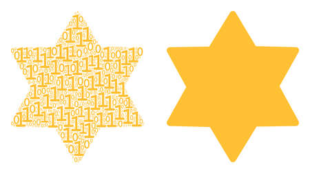 Six pointed star mosaic icon of zero and one symbols in randomized sizes. Vector digit symbols are grouped into six pointed star collage design concept.