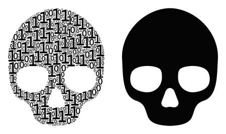 Skull mosaic icon of binary digits in random sizes. Vector digit symbols are grouped into skull collage design concept.
