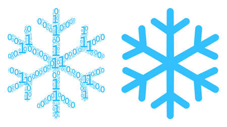 Snowflake collage icon of zero and one symbols in variable sizes. Vector digits are grouped into snowflake collage design concept.