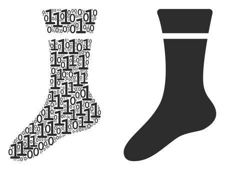 Sock composition icon of zero and null digits in various sizes. Vector digital symbols are organized into sock composition design concept. Иллюстрация