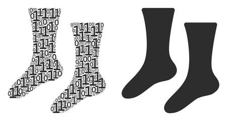 Socks collage icon of zero and null digits in various sizes. Vector digits are composed into socks illustration design concept.