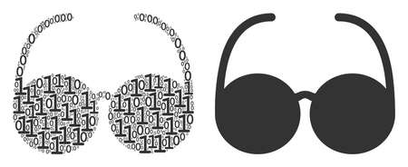 Spectacles collage icon of binary digits in various sizes. Vector digital symbols are grouped into spectacles illustration design concept.