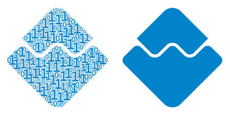 Waves currency mosaic icon of one and zero digits in variable sizes. Vector digital symbols are composed into Waves currency mosaic design concept.
