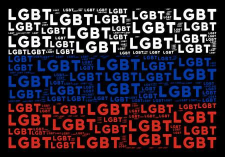 Russian national flag mosaic done of LGBT texts. Vector LGBT texts are composed into geometric Russian flag collage. Vektoros illusztráció