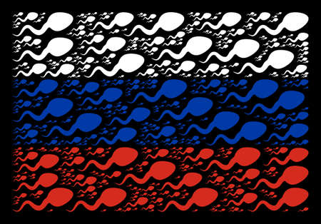 Russian national flag pattern created of spermatozoon elements. Vector spermatozoon design elements are combined into mosaic Russia flag collage. Illustration