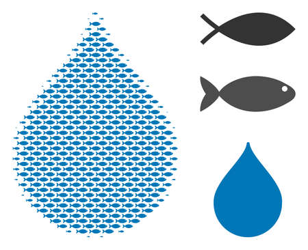 Fish drop halftone collage. Vector fish items are united into drop collage. Nautical design concept. Иллюстрация