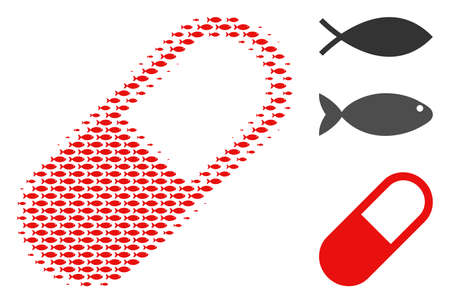 Fish medication granule halftone composition. Vector fish symbols are grouped into medication granule composition. Fishery design concept. Illustration