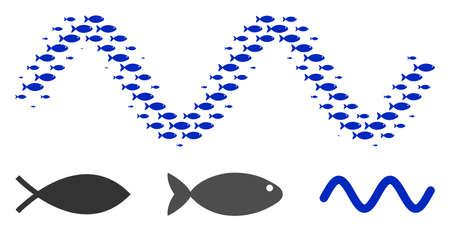 Fish sinusoid wave halftone composition. Vector fish items are composed into sinusoid wave composition. Nautical design concept.