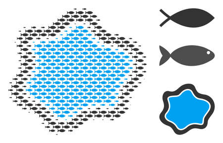 Fish water pool halftone collage. Vector fish symbols are composed into water pool collage. Ocean design concept.
