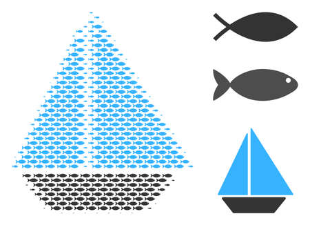 Fish yacht halftone collage. Vector fish icons are grouped into yacht collage. Nautical design concept.