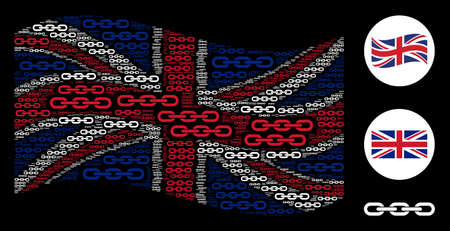 Waving Great Britain state flag pattern organized of chain design elements. Vector chain design elements are composed into mosaic UK flag collage.