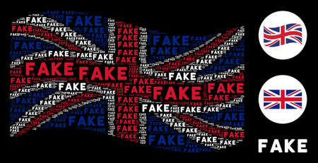 Waving Great Britain official flag concept made of fake words. Vector fake word elements are combined into mosaic British flag composition. Illustration