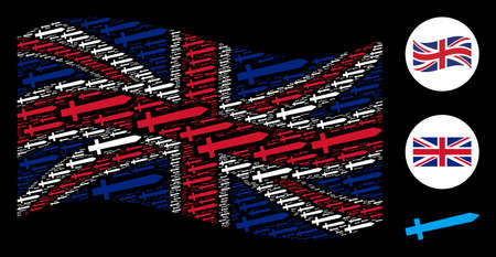 Waving Great Britain state flag collage done of sword pictograms. Vector sword design elements are combined into geometric UK flag abstraction.
