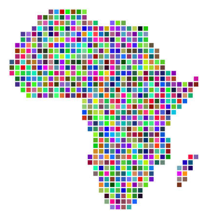 Multi colored dot Africa map. Vector mosaic of Africa map done of square dots. Vector geographic dotted pixelated map in random colors.