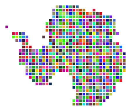 Multi colored dot Antarctica map. Vector mosaic of Antarctica map done of dot elements. Vector geographic dotted pixel map in different colors.