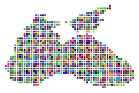Multicolored dot Black Sea map. Vector pattern of Black Sea map combined of dot elements. Vector geographic dotted pixelated map in different colors.